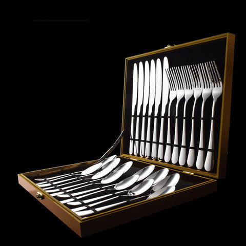 Metallic high-end cutlery 24 Sets Stainless Steel Fork Tableware set with Gift box * other Stainless Steel Dinner Set - Periwinkle Online