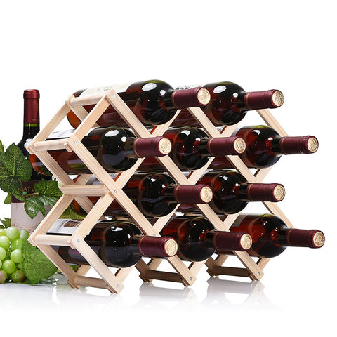 Simple life High Quality Wooden Folding Wine Rack 3/6/10 Bottle Holder
