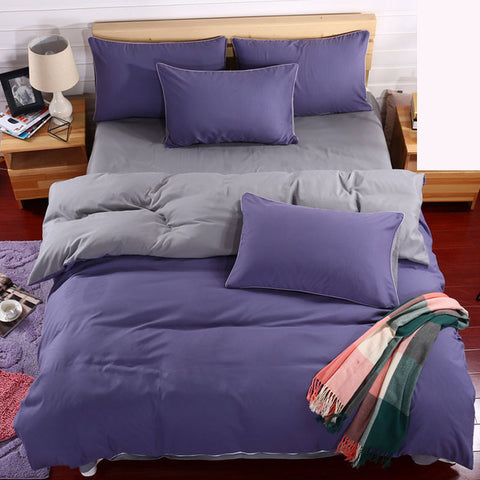 Double Sided Linen Bedding Set 4 Pcs Duvet Cover Flat Sheet Pillow Case