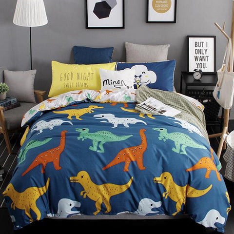Free Shipping | 3/4pcs Quilt Dinosaurs Duvet Cover Queen Twin King Pillow Case MF322Z OEM - iWynx