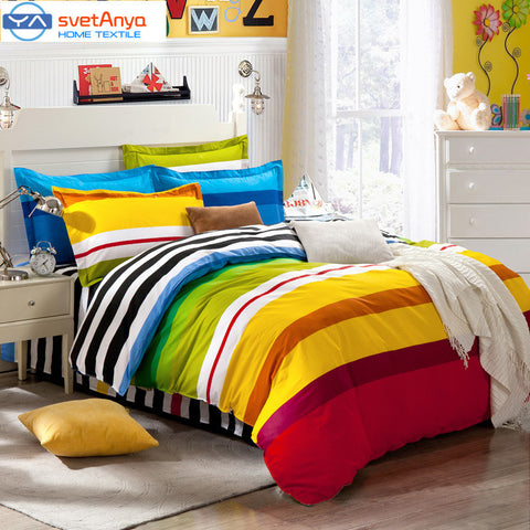 Rainbow (flat bedsheet/ Mattress cover+Duvet case+pillowcases) 4pc/5pc sets