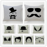 Chaplin Portrait Style White And Black Printed Linen Cotton Throw Pillows