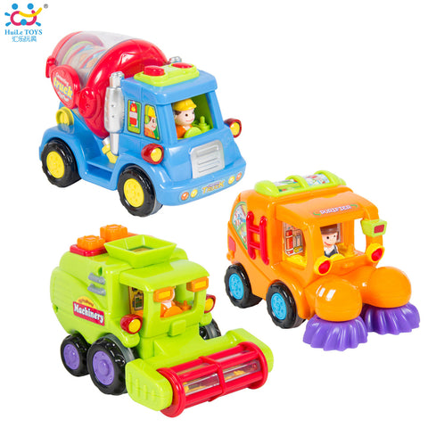 (Set of 3) Push and Go Friction Powered Car Toy Trucks