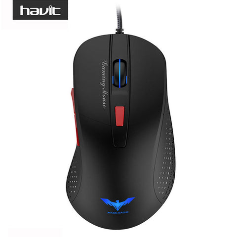 HV-MS745 Wired Gaming Mouse USB Optical 2800 DPI 4 LED Lights with 6 Buttons * Havit Wired Mouse - Periwinkle Online