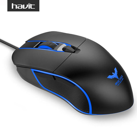 HV-MS761 Gamer Mouse 4000 DPI Wired Gaming Mouse with 6 Buttons 6 LED Light