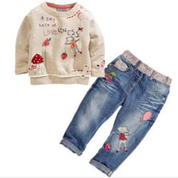 DT0194 Cartoon long-sleeved sweater + jeans suit sets kids costume