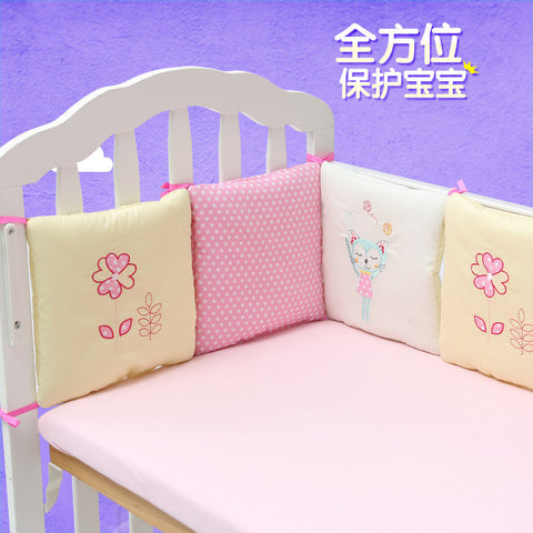 Infant Crib Bumper Bed Protector 6 pc Cotton * BabyMio Crib Accessories - Periwinkle Online