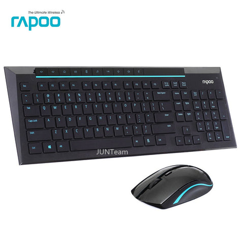 Rapoo 8200P Multimedia Wireless Keyboard Combos with Fashionable Ultra Thin Waterproof Silent Mice