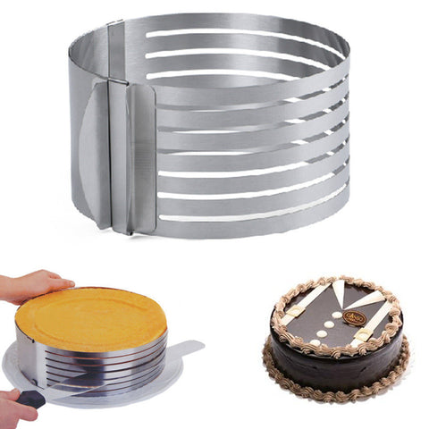 Free Shipping | Adjustable Stainless Steel Circle Cake Mold Bake Layer Slicing Kit Pastry Baking Tools Fheal - Periwinkle Online