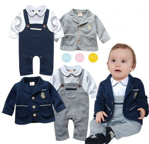 Toddler infant long sleeve romper+jacket suit