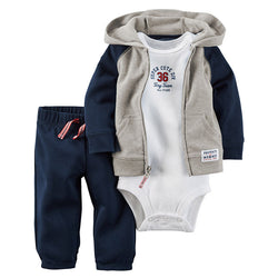 2017 Baby Unisex Clothes Sets 1 hooded  zipper coat + pants + romper