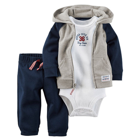 780c440097e2f Baby Unisex Clothes Sets 1 hooded zipper coat + pants + romper Chuya  AliExpress - Periwinkle