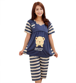 Nursing Tops and pants maternity breast feeding pajamas
