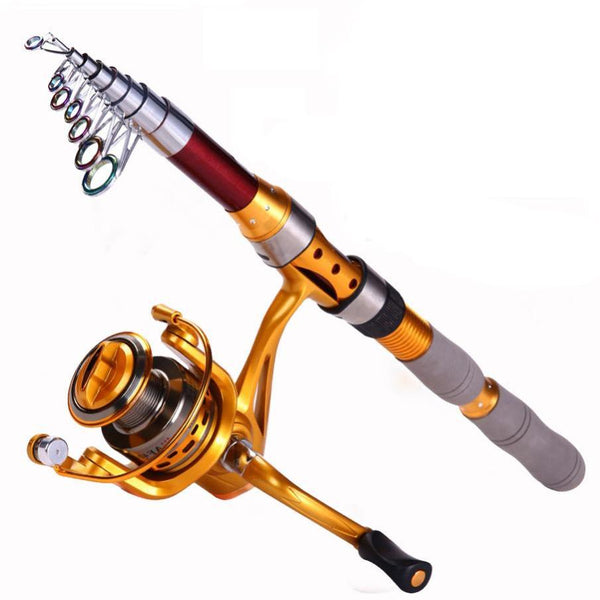 1.8-3.0M Spinning Carbon Telescopic Fishing Rod Set with 14BB Reel Surf Feeder Sea Fishing Rod