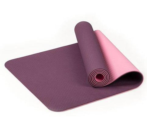 TPE Thick Non-slip Gym Fitness Exercise Yoga Mat - Plum