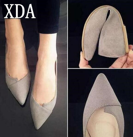 High Quality Suede Casual Comfortable Pointed Toe Rubber Women Flat Shoe