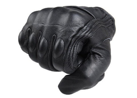 Top Glove real Leather Full Finger Black moto men Motorcycle Gloves Protective Gear