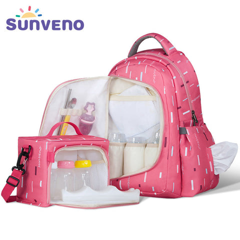 Sunveno Waterproof Multi-functional Diaper Nappy Bag Organizer Maternity Bag with Small Bag Inside