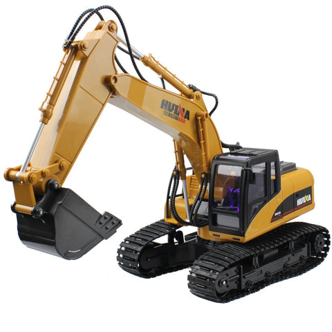 Huina RC Excavator 15 CH 2.4G Metal Electric RC USB Charging LED Flashing Light and Sound