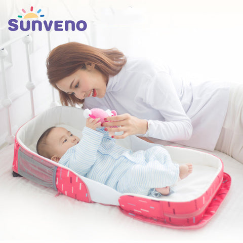 Sunveno Foldable Infant Baby Portable Crib Bed Outdoor Co-Sleepers Folding Bed Backpack