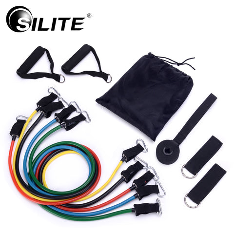 SILITE 11pcs/set Pull Rope Fitness Exercises Resistance Bands Crossfit Latex Tubes * Silite Resistance Bands - Periwinkle Online