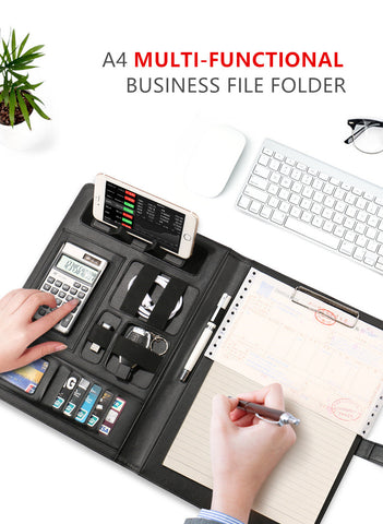 A4 Business File Folder for Business Portfolio with Calculator Note Clip Pen Mobile Phone Harphia AliExpress - Periwinkle Online