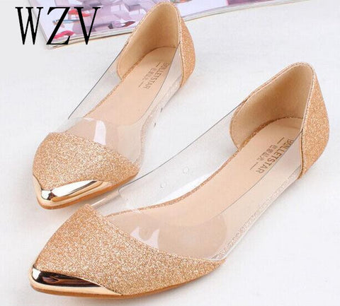 2017 New Chic Metal Pointed/Closed Toe Transparent Ballet Flat Shoes A016