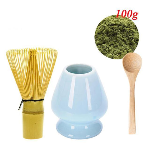 S/4 Matcha Whisk Stand Chasen Holder+Bamboo Baibenli Whisk+Spoon+100g Match Powder