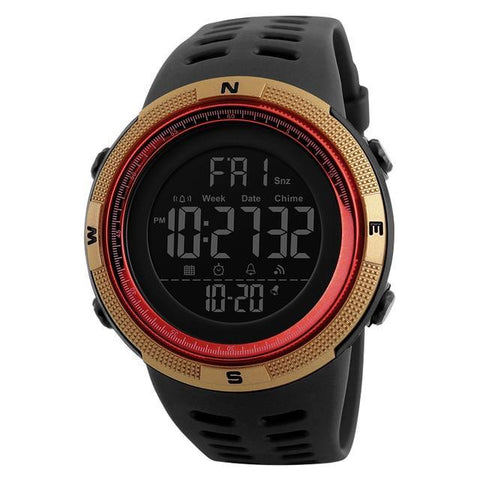 SKMEI Waterproof Mens Casual Multifunction LED Digital Outdoor Watch - Gold/Red