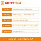 Xiaomi Redmi Note 5A 2GB RAM 16GB ROM Snapdragon 425 Quad Core CPU  5.5 Inch 13.0MP