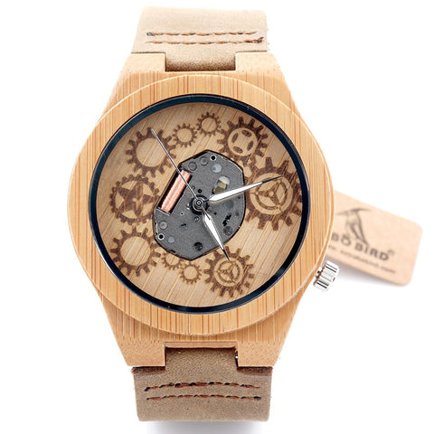 Bamboo Wood Miyota Japanese 2035 With Genuine Cow Leather Band * Bobo Bird Watches - Periwinkle Online