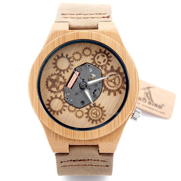 2017 Bamboo Wood Miyota Japanese 2035 With Genuine Cow Leather Band