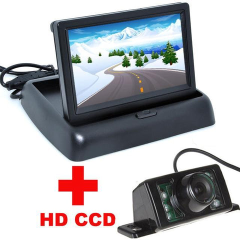 7LED Night Vision CCD Rear View Camera With 4.3'' LCD Foldable Monitor Auto Parking Assistance