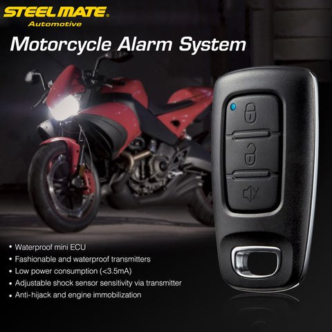 Steelmate 886E 1 Way Motorcycle Alarm System Water Resistant ECU Engine Immobilization Device