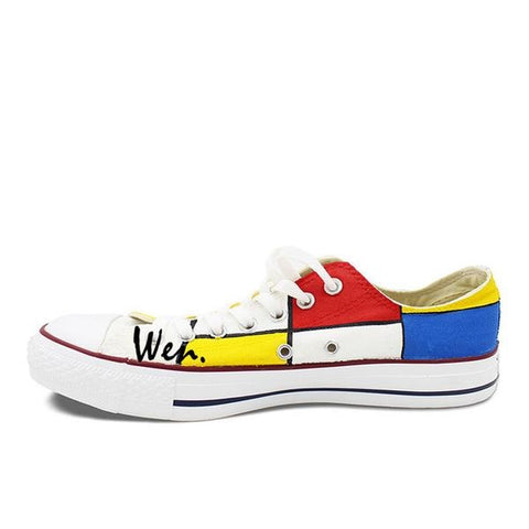 Free Shipping | All Star Converse Shoes Mondrian Custom Design Hand Painted Shoes - Low Converse - Periwinkle Online