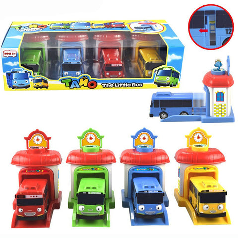 Free Shipping | 4Pcs/Set Korean Tayo Mini Miniature Bus Lelebe - iWynx