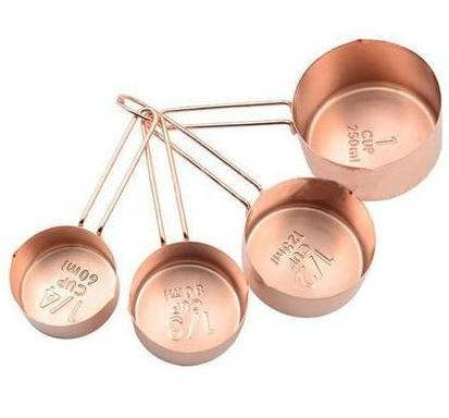 Free Shipping | 4Pcs Copper Plated Stainless Steel Measuring Cups Set H80785 - Rose Golden Oussirro - iWynx