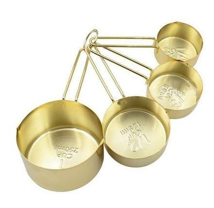 Free Shipping | 4Pcs Copper Plated Stainless Steel Measuring Cups Set H80785 - Gold Oussirro - iWynx