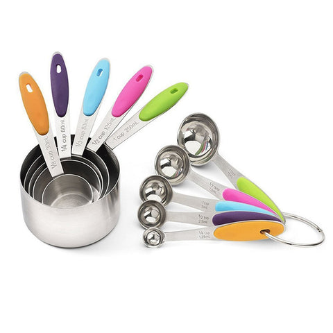 Free Shipping | 10Pcs Professional Grade Stainless Steel Measuring Cup And Spoon Sets With Silicone Handle - Multi-colored GDYorKitchen - iWynx