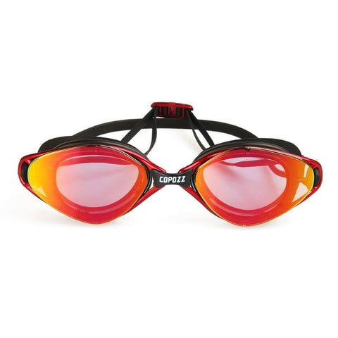 Copozz Unisex Anti-Fog UV Adjustable Plating Professional Swimming Goggles GOG-3550 - MM Red