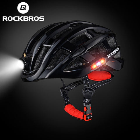 Rockbros Unisex Ultralight Integrally-molded Mountain Road Bicycle Helmet with Light 49-62cm ZN1001 - Black