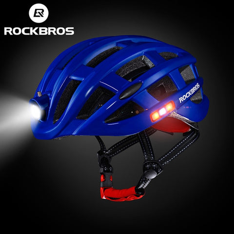 Rockbros Unisex Ultralight Integrally-molded Mountain Road Bicycle Helmet with Light 49-62cm ZN1001 - Blue
