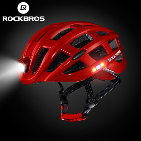 Rockbros Unisex Ultralight Integrally-molded Mountain Road Bicycle Helmet with Light 49-62cm ZN1001 - Red