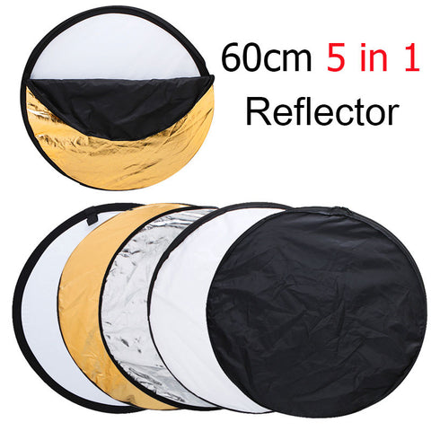 "24"" 60cm 5 in 1 Portable Collapsible Light Round Photography Reflector for Studio Multi Photo Disc - Periwinkle Online"