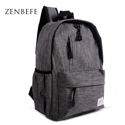 ZENBEFE Linen Small Backpack Unisex School / Travel Bag