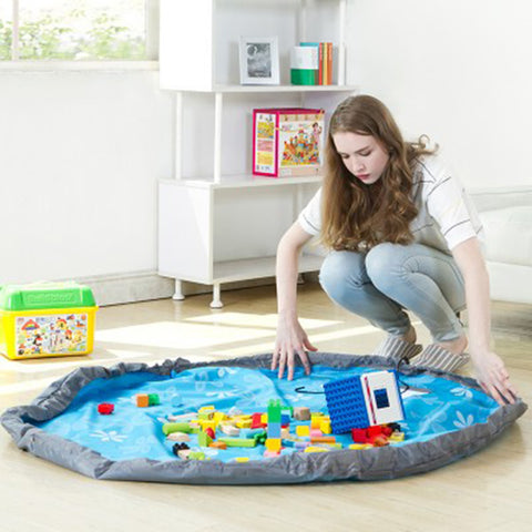 Portable Kids Toy Lego Organizer Storage Bag and Play Mat