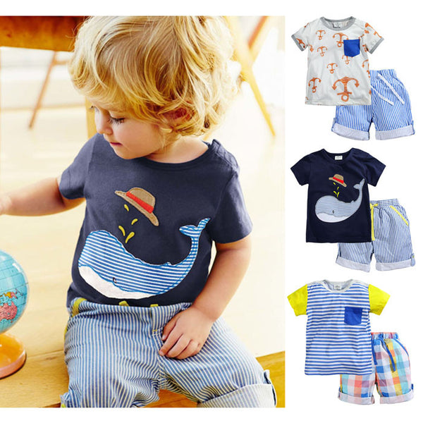 100% Cotton Baby Summer Baby Clothing Set for Boys - Periwinkle Online