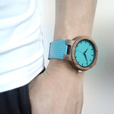 BOBO BIRD Genuine Cowhide Leather 100% Natural Bamboo Wood Wristwatch * Bobo Bird Watches - Periwinkle Online