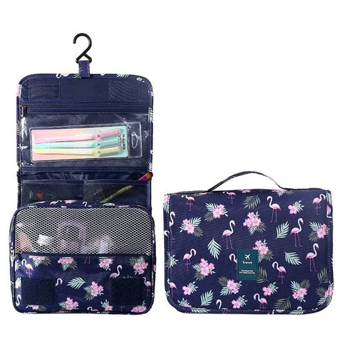 Unisex Large Waterproof Makeup/Travel Toiletry Organizer Bag - Flamingo