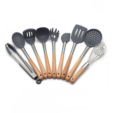 Silicone Cooking Utensils, kitchen utensils 9 pieces set with wood handles, heat resistant and nonstick